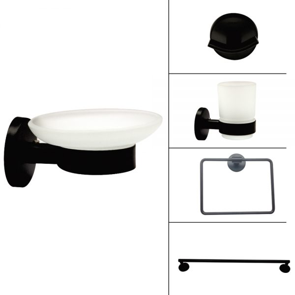 H2O Bath Accessories - Black finish